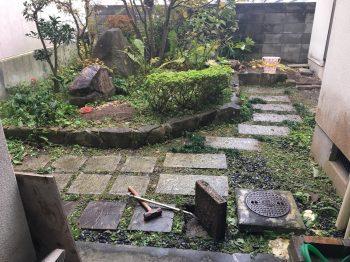 工事前の様子 庭 植栽 手入れ