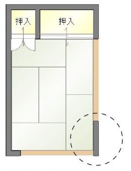 壁面を一部隠した例 和室