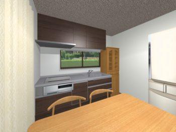 施工事例 キッチン アクセント壁